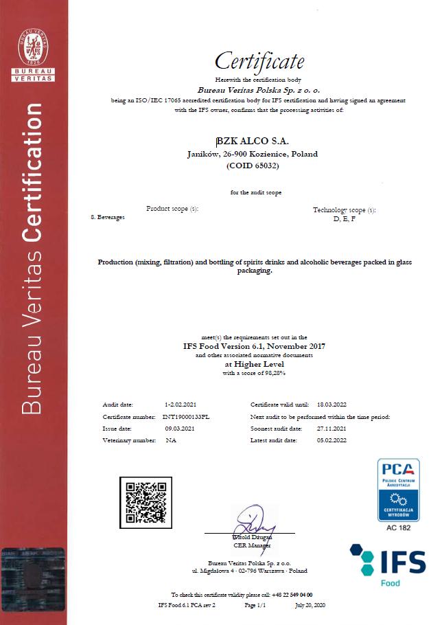 Certyfikat IFS Food dla BZK Alco